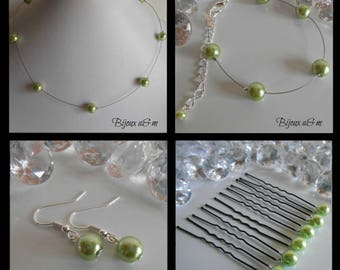 Set of 4 wedding pieces simplicity beads lime green