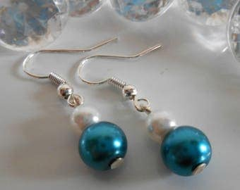 Duo of peacock blue and white pearls wedding earrings