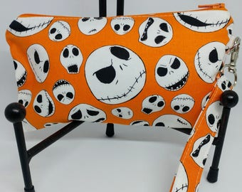 Jack Skellington Wristlet-Nightmare Before Christmas-NBC-Zippered Pouch-OOAK-Ready to Ship