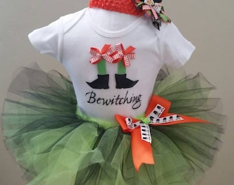 Witch Costume Baby, Halloween Costume Witch Baby,  Halloween Costume Kid, Halloween Costume with a tutu, Size 9 or 12 month