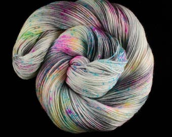 Hand Dyed Yarn - Hand Dyed Sock Yarn - Superwash Merino Wool, Cashmere and Nylon, hand dyed in 'Concrete & Confetti'