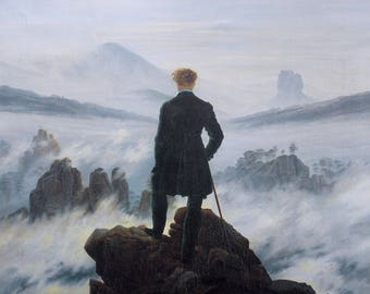 The Wanderer Above the Sea of Fog by Caspar David Friedrich  - Poster A3 or A4 Matt, Glossy or Art Canvas Paper