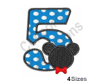 Number 5 - Machine Embroidery Design, Mickey Mouse - Machine Embroidery Design