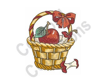 Basket Of Apples - Machine Embroidery Design