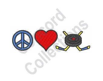 Peace Love Hockey - Machine Embroidery Design, Hockey