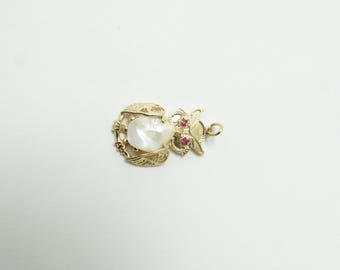Vintage 14K Yellow Gold Pearl and Ruby Owl Pendant #1821