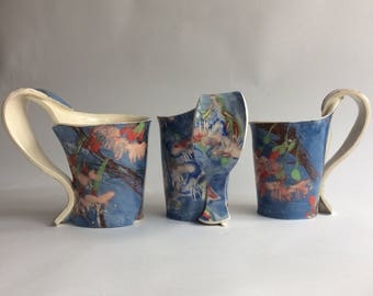 Handmade cherry blossom ceramic mugs. Individual Collectible ceramic mugs. Blue & Pink mugs. Home Kitchen. Cherry Blossom Design Mugs