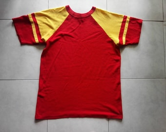 Vintage 70's 80's Moorewear tag stripe yellow red knit t-shirt