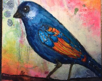 blue bird mixed media painting on cradled wood