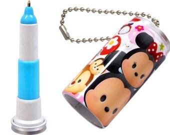 Wholesale Lot  Disney Tsum Tsum Retractable Ballpoint Pen Set of 12  - Mini Type Pen and Keychain