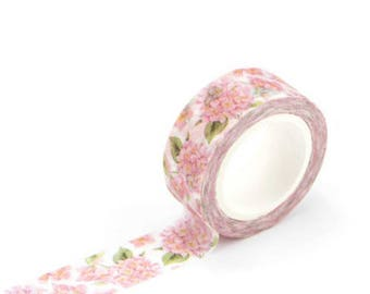 Pink floral green leave floral - Washi Tape, Masking Tape, Planner Stickers