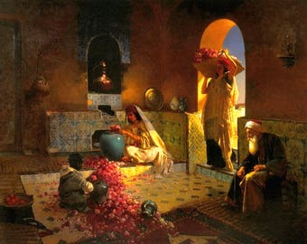 Collecting Roses - Egyptian Art - Arabian Art - Handmade Oil Painting On Canvas