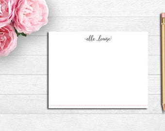 Personalized Stationery, Flat Note Cards, Monogram Note Cards, Custom Stationery, Pink, Gray, Polka Dot Note Cards, Baby Gift, Bridal Gift