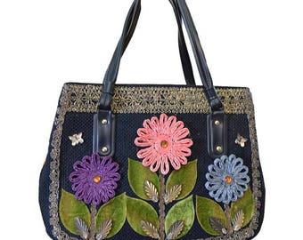 60s Caron of Houston Decorated Purse-Raffia Flowers-Jewels-Metallic Braid Trim-Handbag-Texas- Novelty Bag-1960s