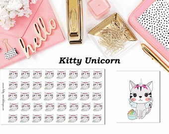Kitty Unicorn//Planner Character Stickers//EC//HP