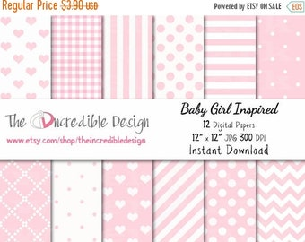 ON SALE Baby Girl Inspired digital paper pack for scrapbooking, Making Cards, Tags and Invitations, Instant Download