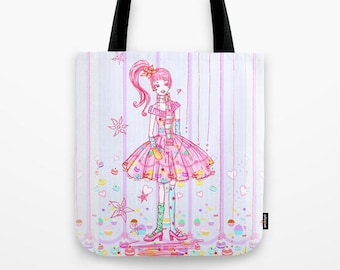 Pink Cupcake Girl Tote Bag, Cute reusable canvas bags , fashion Tote Bags, canvas tote, illustrated tote, Pink Girl Tote Bag, Macaroons Bag