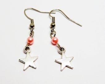 Pink star bead charm earrings