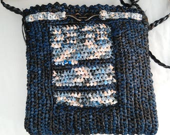 Handbag, shoulder hands free, eco-friendly recycled Heather Navy Blue, crocheted hand