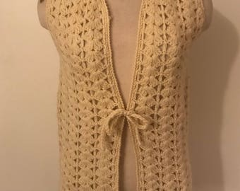 1980's vintage wool Coachella crocheted vest-small/ medium