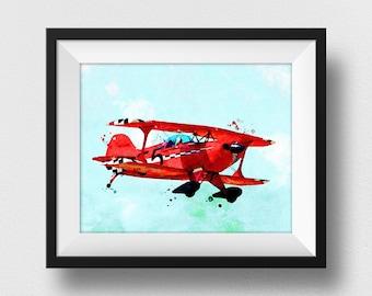 Airplane Nursery Print, Aviation Wall Art, Airplane Decor, Aviation Gifts, Nursery Decor, Kids Room Wall Art, Giclee (N302)