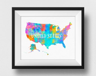 US Map Wall Art With Alaska, US Map Print, United States Map Poster, Children Room Art, Watercolour Map, Room Decor, Map Poster (705)