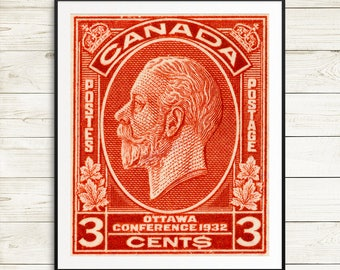 ottawa canada, ottawa ontario, canada post, canadian postage stamps, ottawa print, king george V, george v, kings and queens, canada artwork