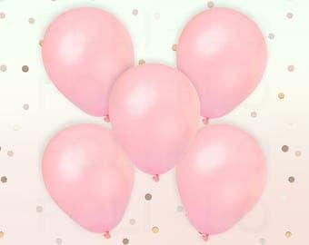 "PASTEL PINK BALLOONS | Unicorn Theme Balloons | Rainbow Color Theme Party | 11"" Latex Balloon Set | Set of 5"