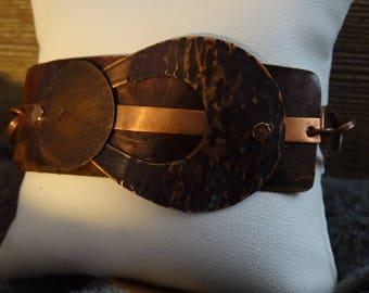 Copper Mixed Media Metal Bracelet