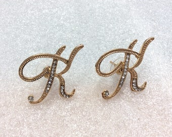 Gold initial K earrings