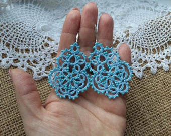 "Jewellery Earrings ""Infinity"" Chandelier Earrings Jewellery Earrings Tatting Lace Weddings tatted jewelry"