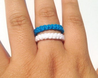 Blue and white hemp ring, macrame ring, stackable ring, unisex ring, ring for woman, ring for men, boho ring, braided ring