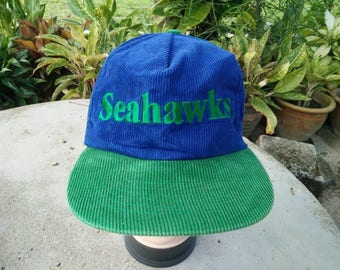 Rare Vintage SEAHAWKS Embroidered Spell Out Corduroy Cap Hat Free size fit all