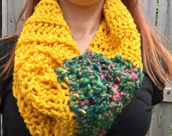 Chunky, Soft Handspun Yarn Cowl, Crochet Outlander Inspired Scarf, Colorful Fall Accessories, Yellow / Blue / Green