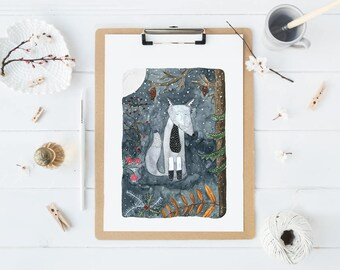 Original Watercolor Illustration,Wolf Winter Watercolor, Forest Watercolor Print, Home Wall Decor, Aquarel Painting, Woodland Art, Wolf