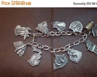 ON SALE Vintage Sterling Silver Charm Bracelet
