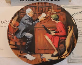 """1986 Norman Rockwell's """"The Professor"""" 8.5"""" Collector Plate - Heritage Series in Original Box"""