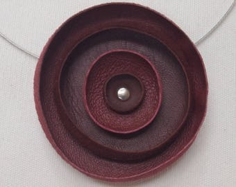 a recycled leather plum and Burgundy Flower necklace
