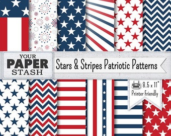 Patriotic Digital Papers, Red White Blue Stars & Stripes Scrapbooking Paper, American Flag, Veteran's Day, 4th of July Instant Download