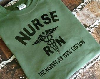 Nurse the hardest job you will ever love digital file for shirts  Iron on  Vinyl Registered Nurse RN