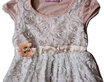 Kids Wear Dress Indian Girl Evening Wear Knee length Gown Dress Floral Embellished Cotton Dress Fit n Flare Gift For Girl