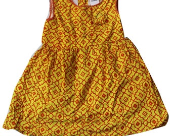 Kids Wear Tunic Top Fit n Flare Printed Dress Evening Wear 100% Cotton Tunic Dress Frock Girls Yellow Printed Fabric Knee Length Dress 3-4Y