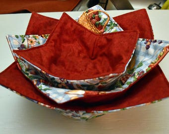 Microwave bowl cozy in 3 sizes, reversible microwave bowl potholders, kitchen accessory, gifts for the kitchen, hostess gifts