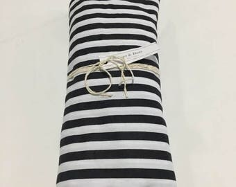 Black and White Stripes - Fitted Crib Sheet - Nursery  - Monochrome - Horizontal