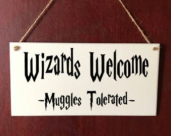 Harry Potter Sign Wizards Welcome DELUXE Plaque Gift Christmas Present