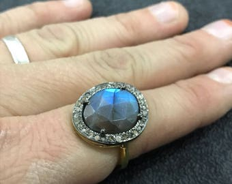 Labradorite Ring,Labradorite Ring Rose Cut,Labradorite and Diamond Ring,Labradorite Victorian Ring,Labradorite Jewelry,Labradorite Gemstones