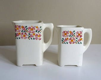 Pair of Art Deco Jugs, Wloclawek White-ware, Retro Kitchen, Polish Ceramics, 1930s, Arts & Crafts Style