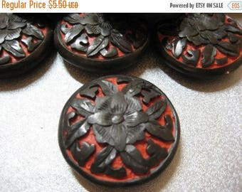 ON SALE 15% OFF Carved Flower Cinnabar Bead 1pc