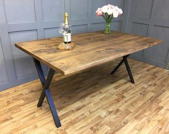 Industrial X Frame Table in Medium Oak Finish