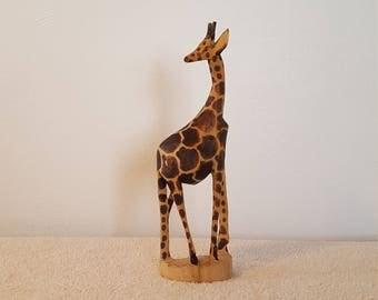 "Vintage 12.5"" Tall Hand Carved Wood Giraffe Statue Giraffe Figurine African Decor"